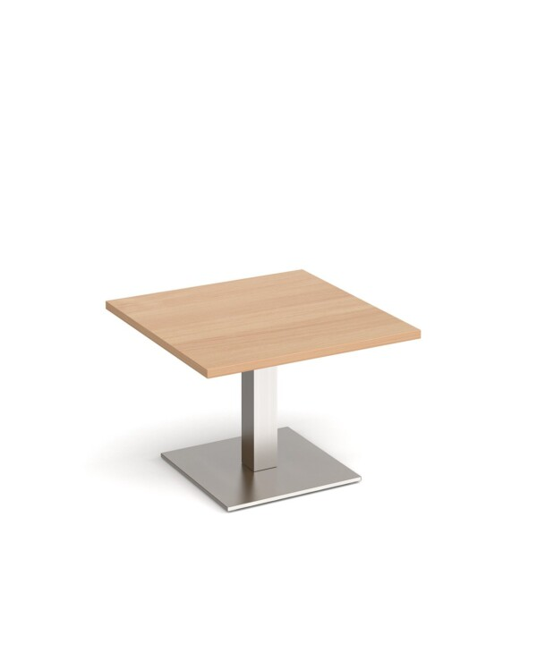 Brescia square coffee table with flat square brushed steel base 700mm - beech - Furniture