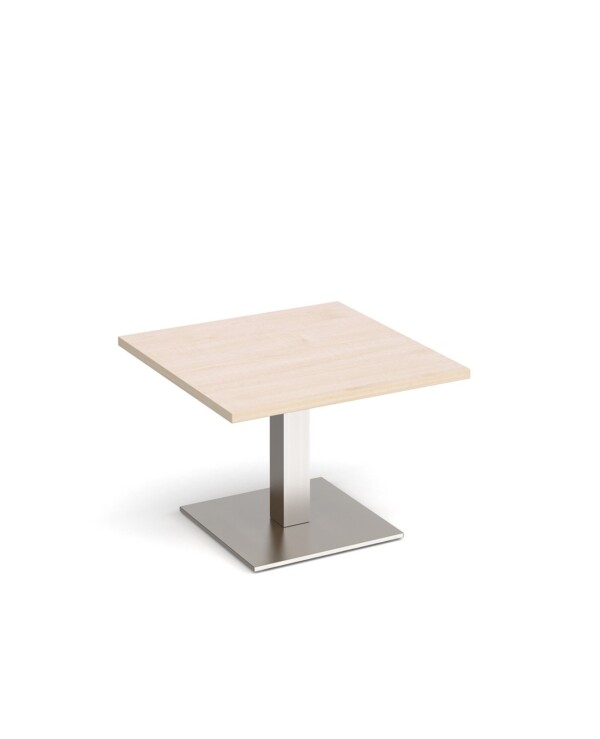 Brescia square coffee table with flat square brushed steel base 700mm - maple - Furniture