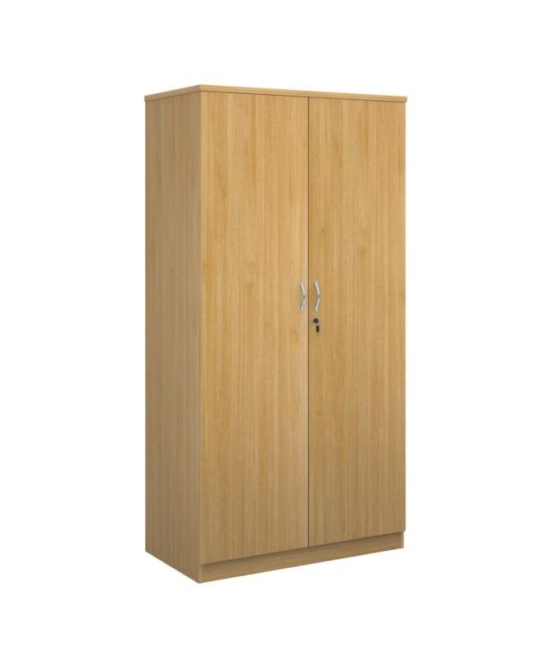 Deluxe double door cupboard 2000mm high with 4 shelves - oak - Furniture