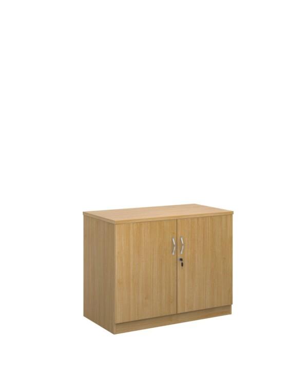 Deluxe double door cupboard 800mm high with 1 shelf - oak - Furniture
