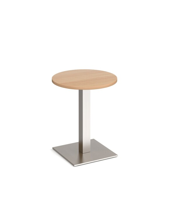 Brescia circular dining table with flat square brushed steel base 600mm - beech - Furniture