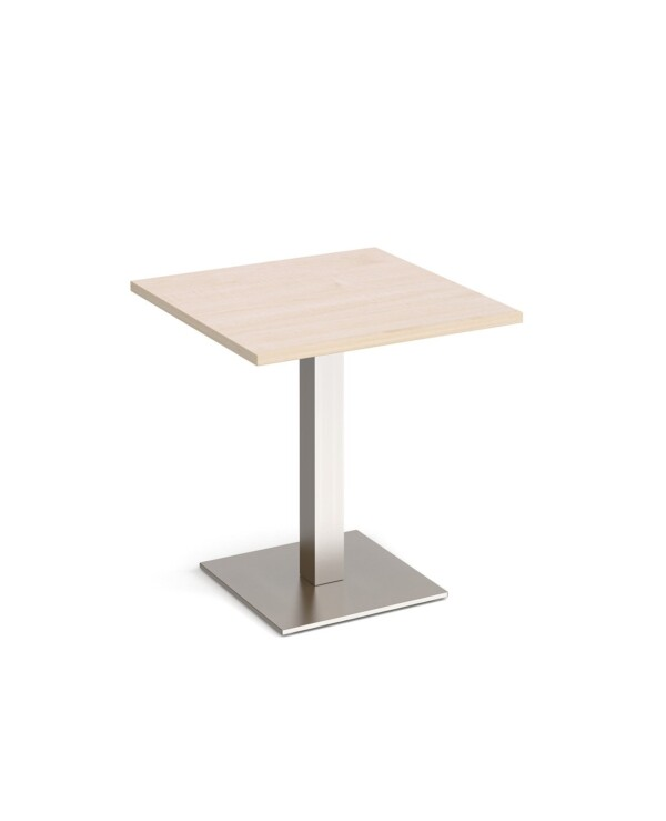 Brescia square dining table with flat square brushed steel base 700mm - maple - Furniture