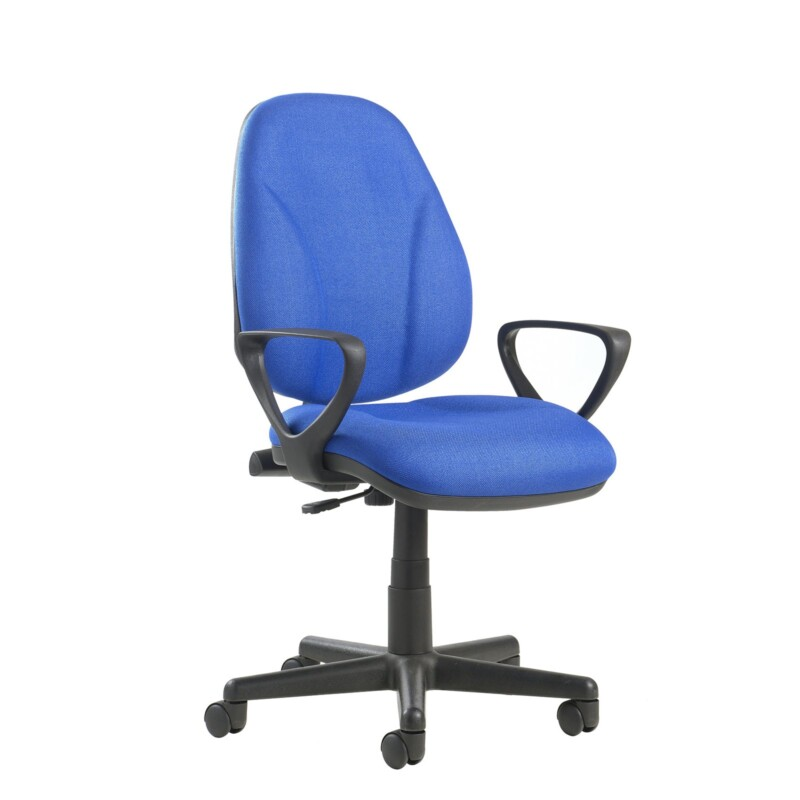 Bilbao fabric operators chair with lumbar support and fixed arms - blue - Furniture