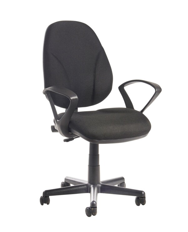 Bilbao fabric operators chair with lumbar support and fixed arms - black - Furniture