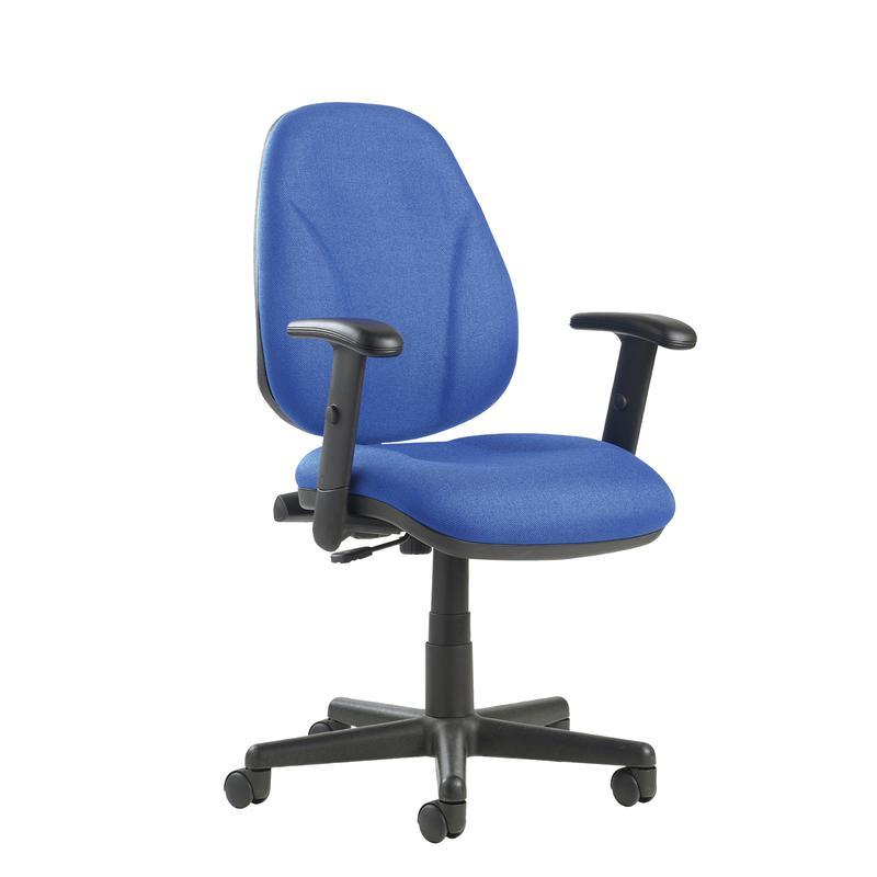 Bilbao fabric operators chair with lumbar support and adjustable arms - blue - Furniture