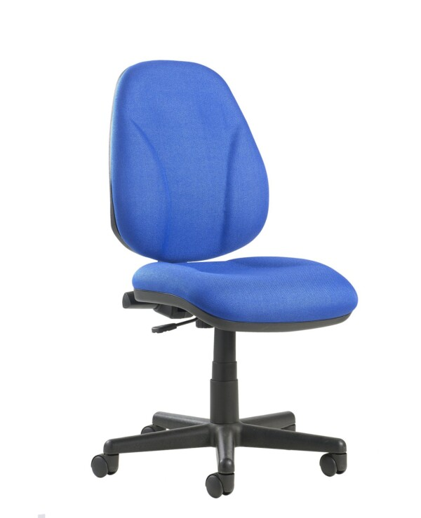 Bilbao fabric operators chair with lumbar support and no arms - blue - Furniture