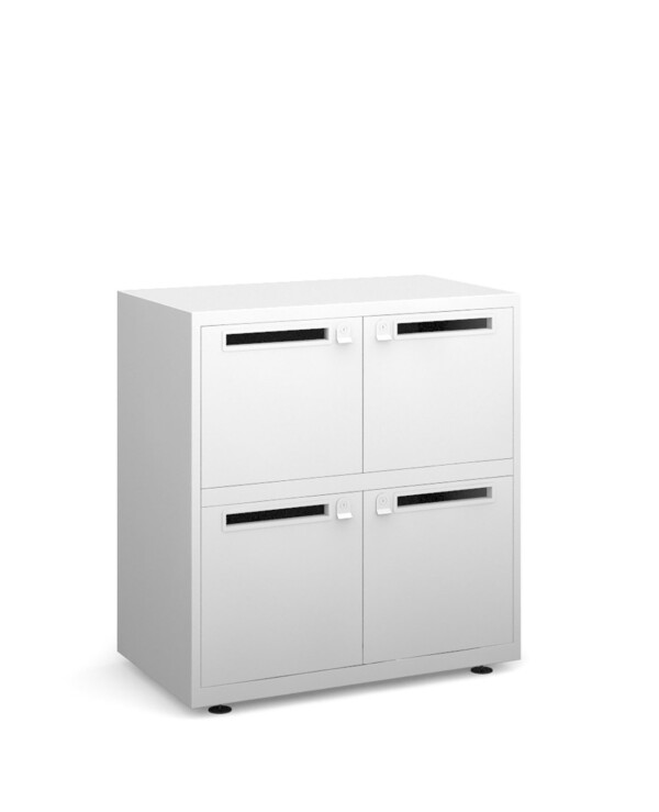 Bisley lodges with 4 doors and letterboxes - white - Furniture