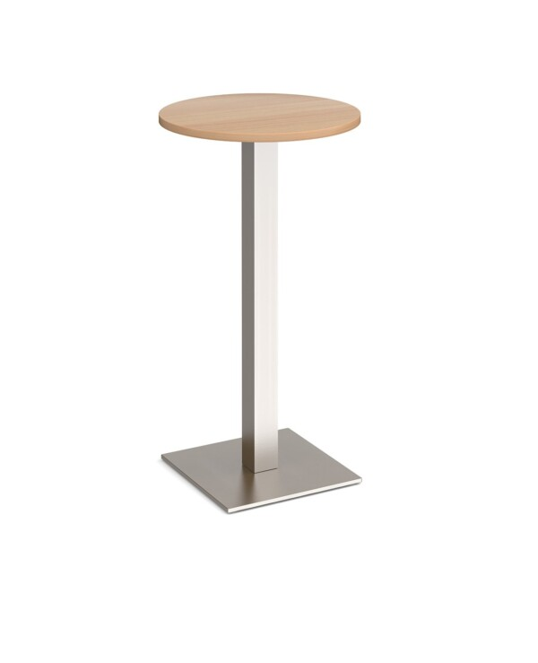 Brescia circular poseur table with flat square brushed steel base 600mm - beech - Furniture