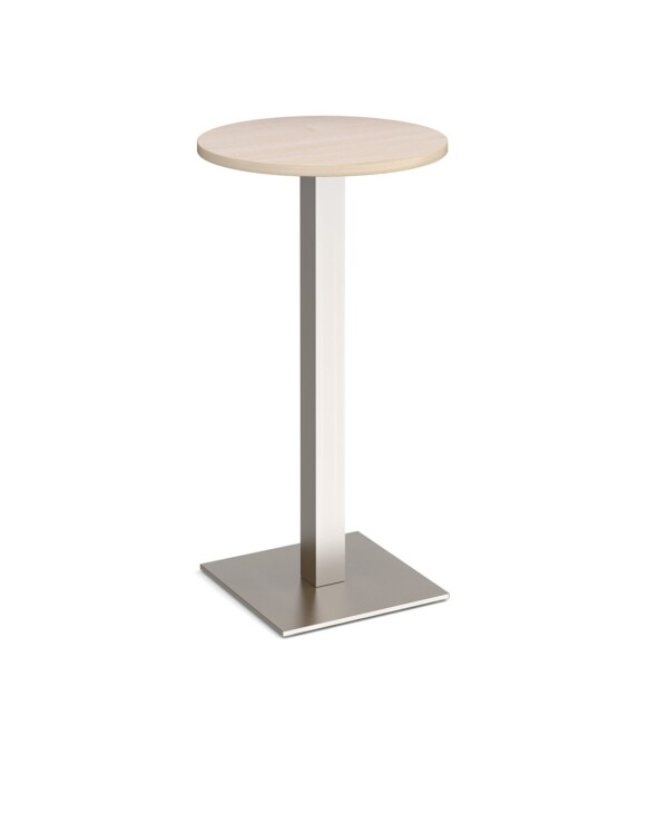 Brescia circular poseur table with flat square brushed steel base 600mm - maple - Furniture