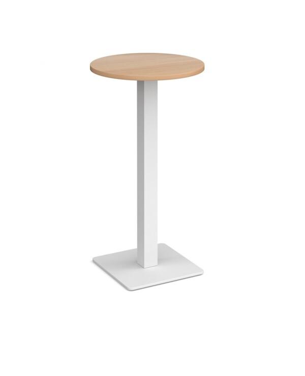 Brescia circular poseur table with flat square black base 600mm - beech - Furniture