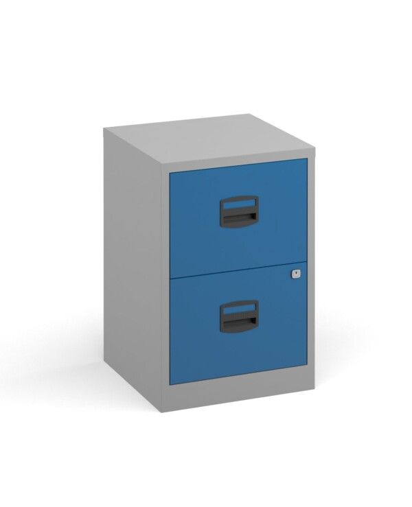 Bisley A4 home filer with 2 drawers - grey with blue drawers - Furniture