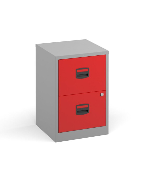 Bisley A4 home filer with 2 drawers - grey with red drawers - Furniture