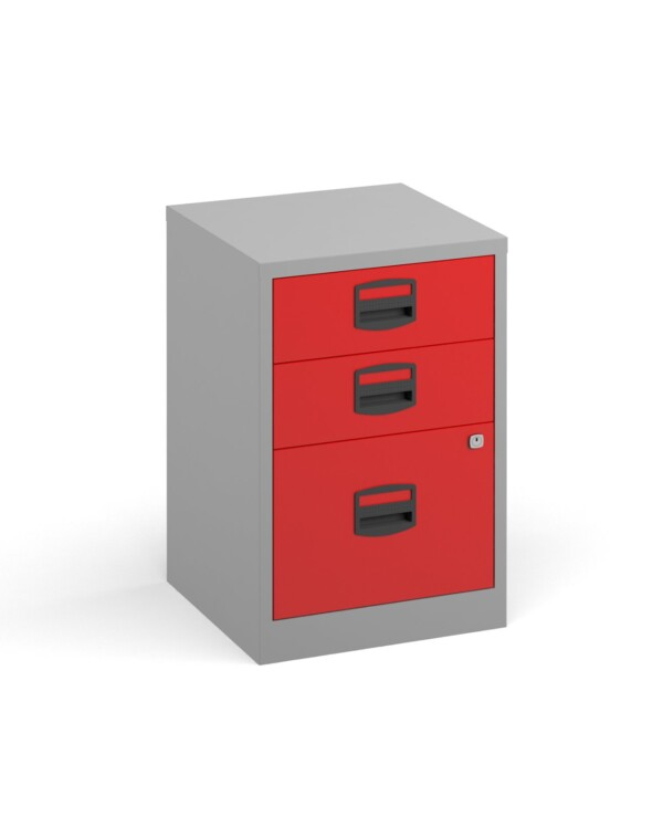 Bisley A4 home filer with 3 drawers - grey with red drawers - Furniture