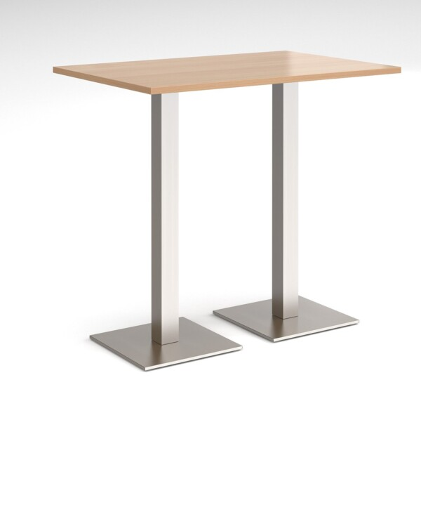 Brescia rectangular poseur table with flat square brushed steel bases 1200mm x 800mm - beech - Furniture