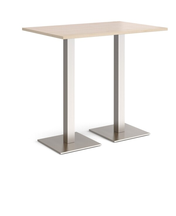 Brescia rectangular poseur table with flat square brushed steel bases 1200mm x 800mm - maple - Furniture