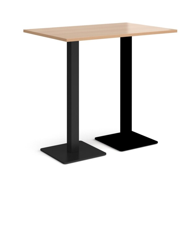 Brescia rectangular poseur table with flat square black bases 1200mm x 800mm - beech - Furniture
