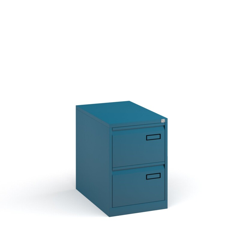 Bisley steel 2 drawer public sector contract filing cabinet 711mm high - blue - Furniture