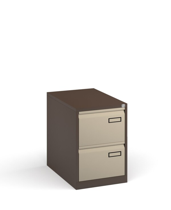 Bisley steel 2 drawer public sector contract filing cabinet 711mm high - coffee/cream - Furniture