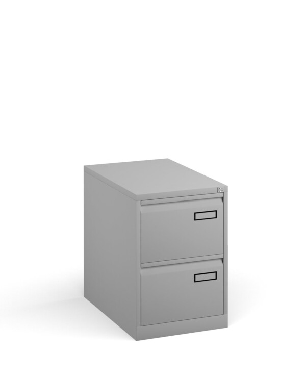 Bisley steel 2 drawer public sector contract filing cabinet 711mm high - goose grey - Furniture