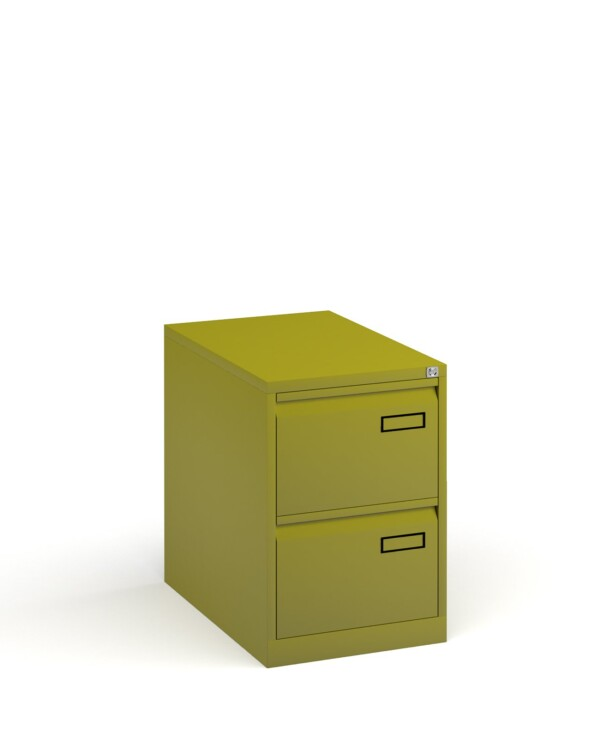 Bisley steel 2 drawer public sector contract filing cabinet 711mm high - green - Furniture