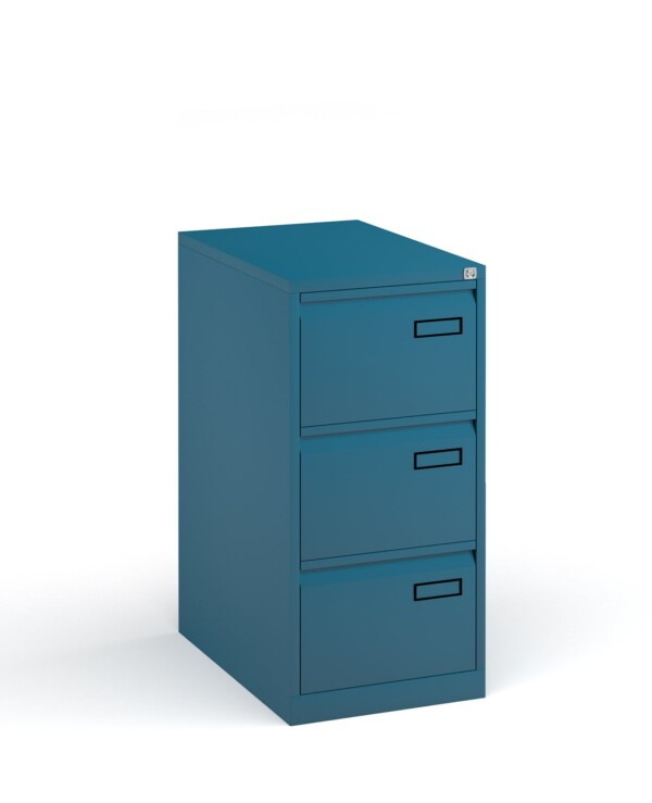 Bisley steel 3 drawer public sector contract filing cabinet 1016mm high - blue - Furniture