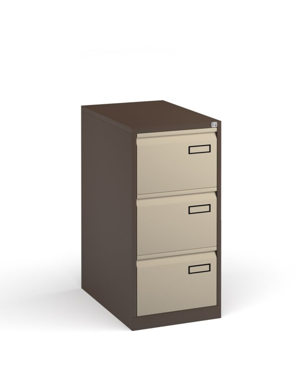 Bisley steel 3 drawer public sector contract filing cabinet 1016mm high - coffee/cream - Furniture