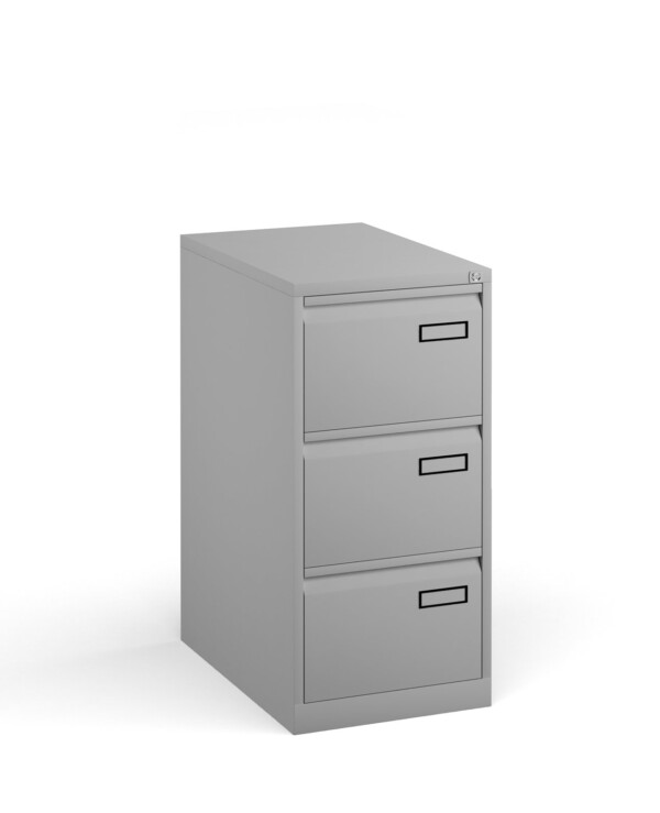 Bisley steel 3 drawer public sector contract filing cabinet 1016mm high - goose grey - Furniture