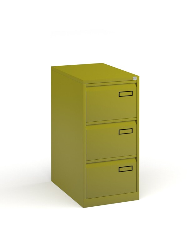 Bisley steel 3 drawer public sector contract filing cabinet 1016mm high - green - Furniture