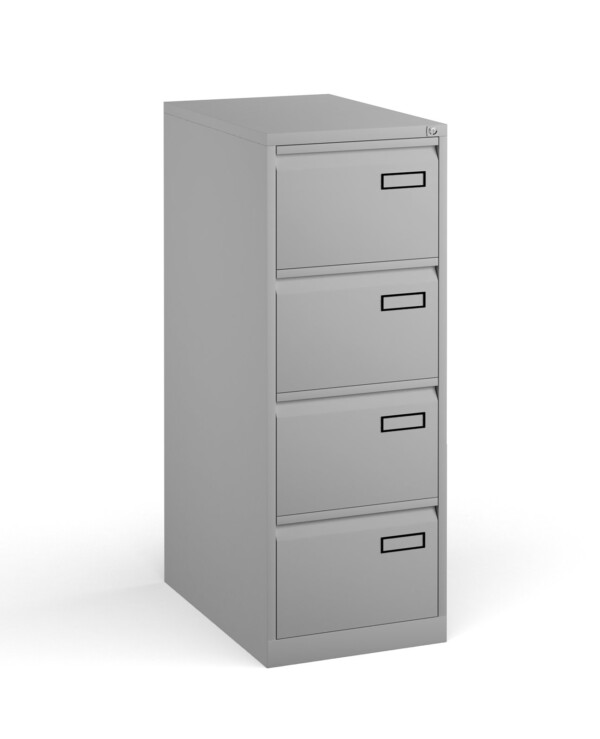 Bisley steel 4 drawer public sector contract filing cabinet 1321mm high - goose grey - Furniture