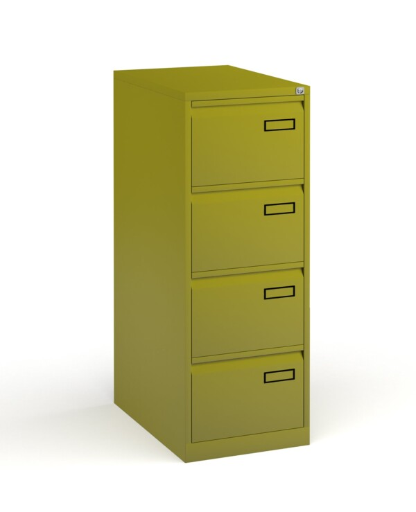 Bisley steel 4 drawer public sector contract filing cabinet 1321mm high - green - Furniture