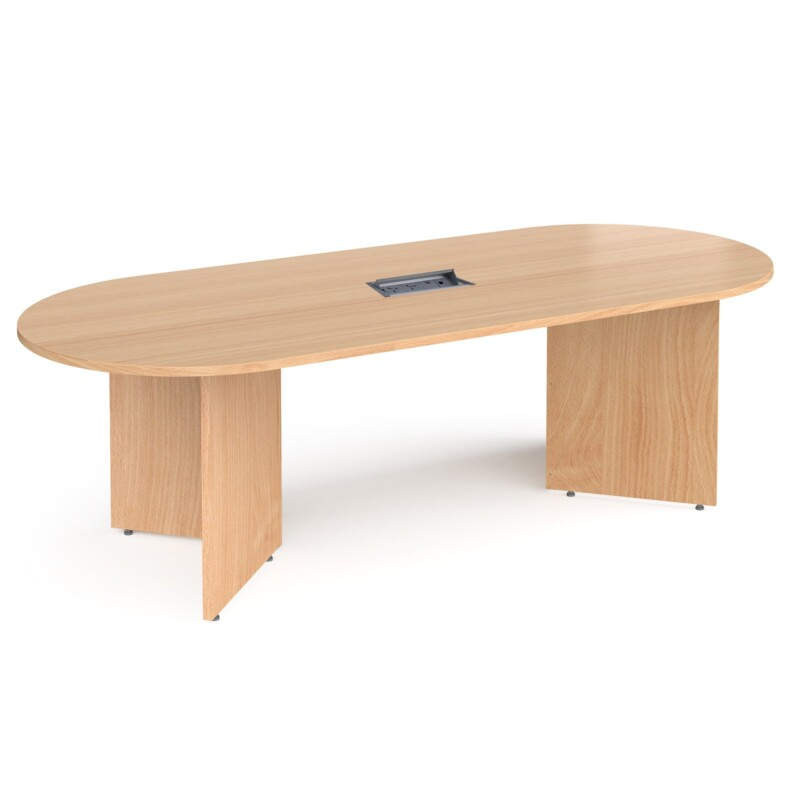 Arrow head leg radial end boardroom table 2400mm x 1000mm in beech with central cutout and Aero power module - Furniture