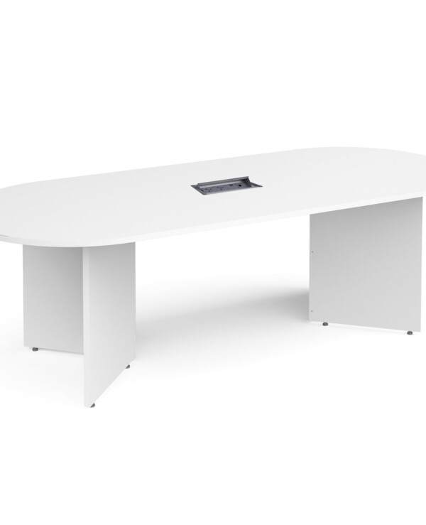 Arrow head leg radial end boardroom table 2400mm x 1000mm in white with central cutout and Aero power module - Furniture