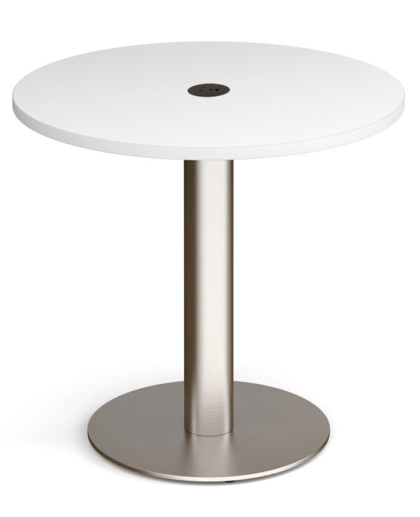Monza circular dining table 800mm in beech with central circular cutout and Ion power module in black - Furniture