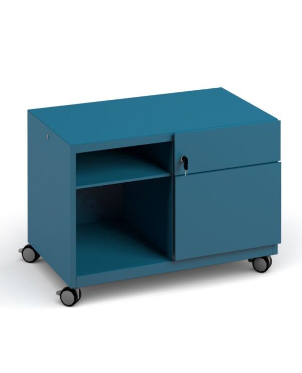 Bisley steel caddy right hand storage unit 800mm - blue - Furniture
