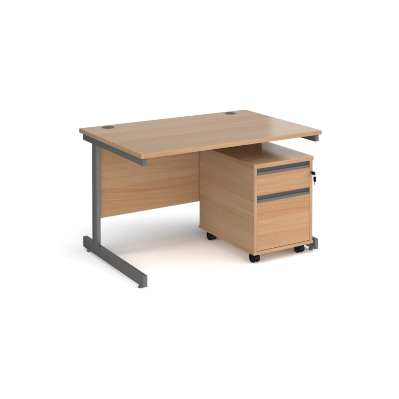 Contract 25 1200mm straight desk with graphite cantilever leg and 2 drawer mobile pedestal - beech - Furniture
