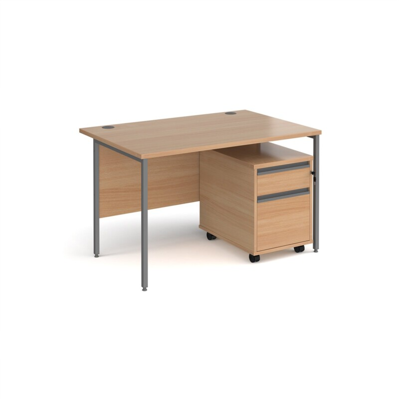 Contract 25 1200mm straight desk with graphite H-frame leg and 2 drawer mobile pedestal - beech - Furniture