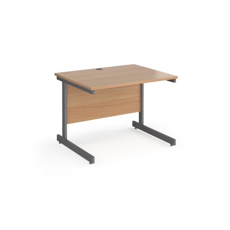 Contract 25 straight desk with graphite cantilever leg 1000mm x 800mm - beech top - Furniture