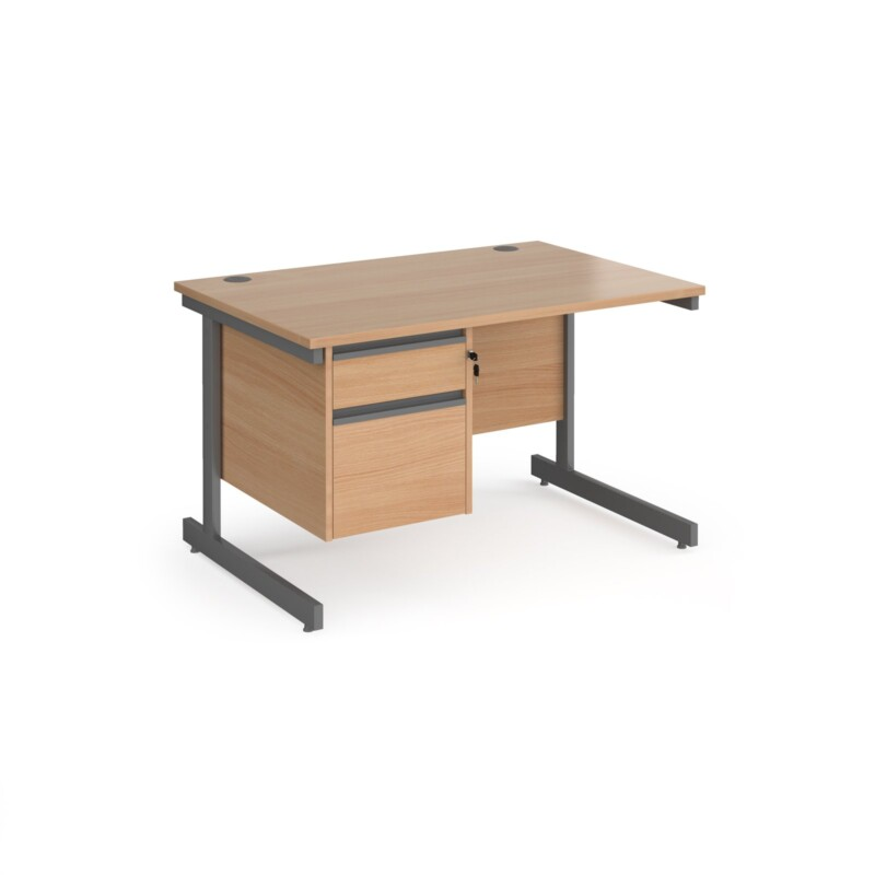 Contract 25 straight desk with 2 drawer pedestal and graphite cantilever leg 1200mm x 800mm - beech top - Furniture