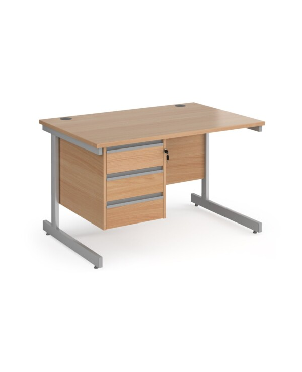 Contract 25 straight desk with 3 drawer pedestal and graphite cantilever leg 1200mm x 800mm - beech top - Furniture