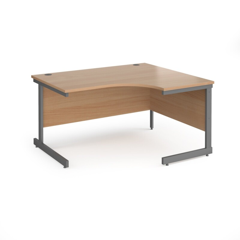 Contract 25 right hand ergonomic desk with graphite cantilever leg 1400mm - beech top - Furniture