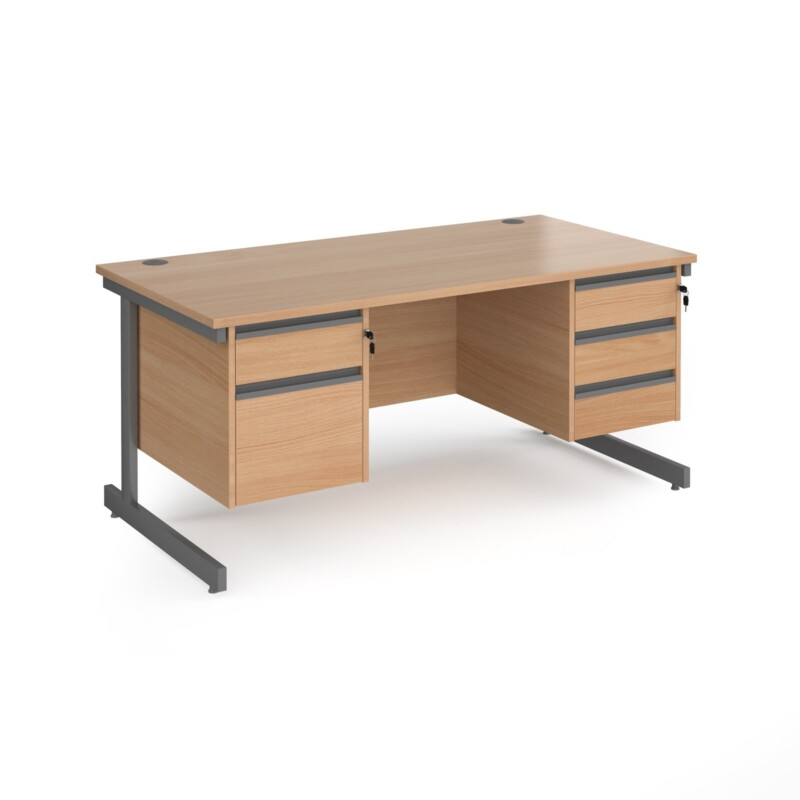 Contract 25 straight desk with 2 and 3 drawer pedestals and graphite cantilever leg 1600mm x 800mm - beech top - Furniture