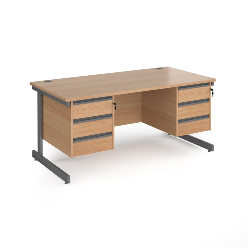 Contract 25 straight desk with 3 and 3 drawer pedestals and graphite cantilever leg 1600mm x 800mm - beech top - Furniture