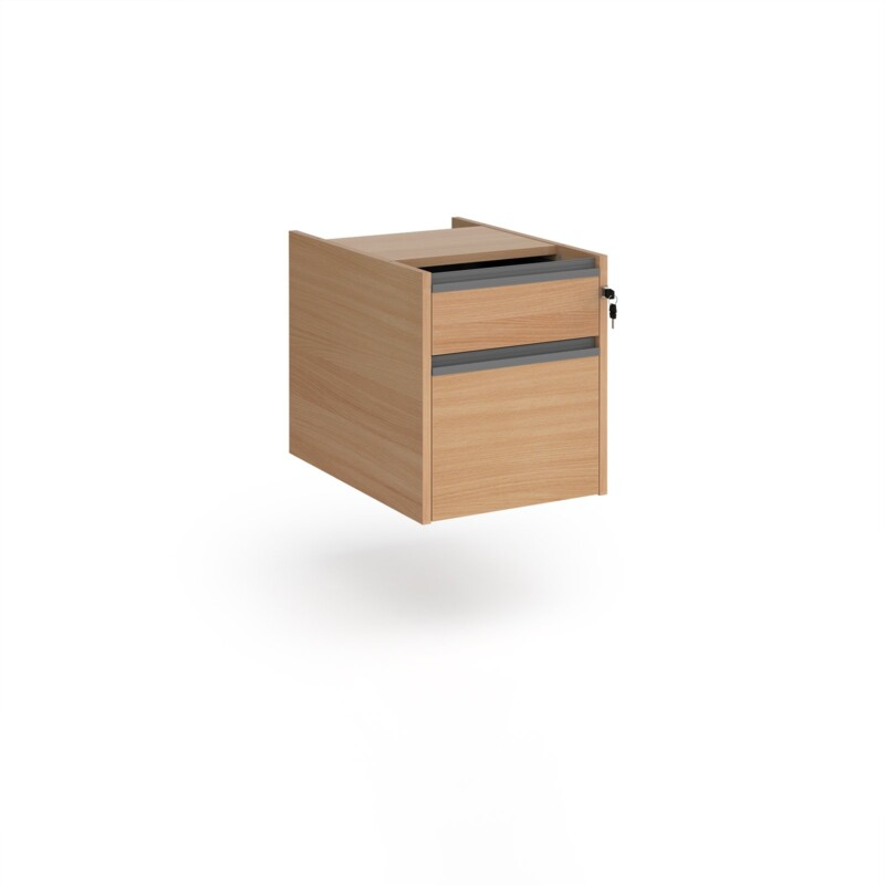 Contract 2 drawer fixed pedestal with graphite finger pull handles - beech - Furniture