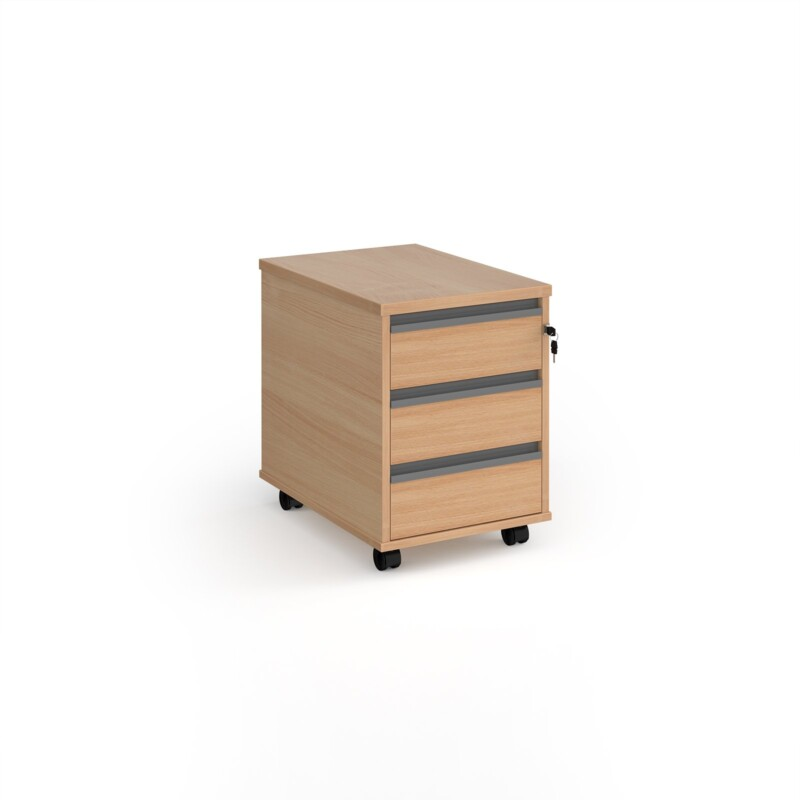 Contract 3 drawer mobile pedestal with graphite finger pull handles - beech - Furniture