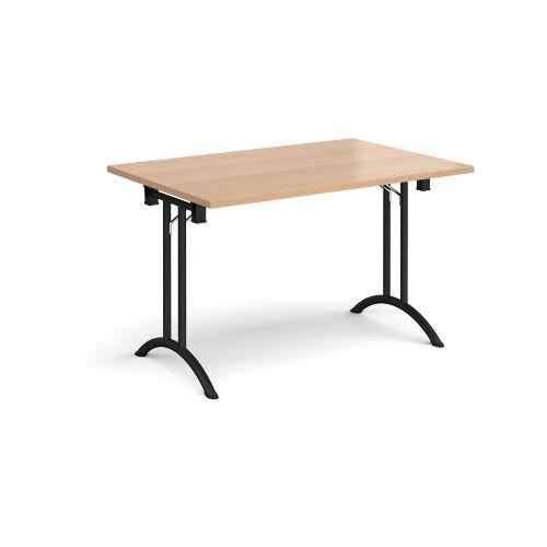 Rectangular folding leg table with chrome legs and curved foot rails 1200mm x 800mm - beech - Furniture