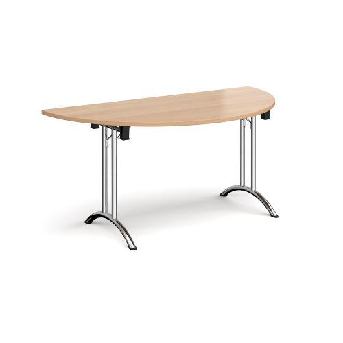 Semi circular folding leg table with chrome legs and curved foot rails 1600mm x 800mm - beech - Furniture
