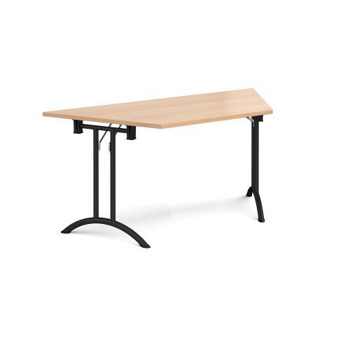 Trapezoidal folding leg table with chrome legs and curved foot rails 1600mm x 800mm - beech - Furniture