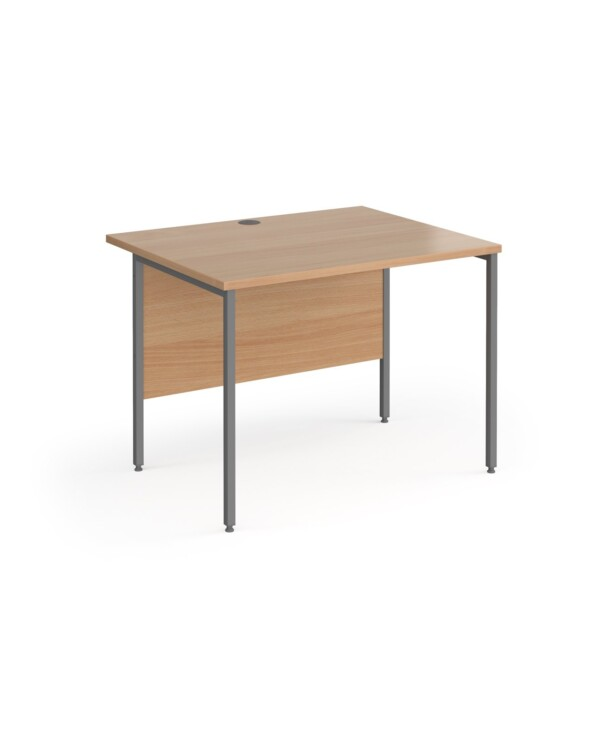 Contract 25 straight desk with graphite H-Frame leg 1000mm x 800mm - beech top - Furniture