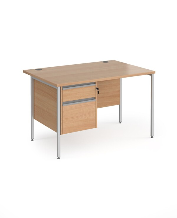 Contract 25 straight desk with 2 drawer pedestal and graphite H-Frame leg 1200mm x 800mm - beech top - Furniture