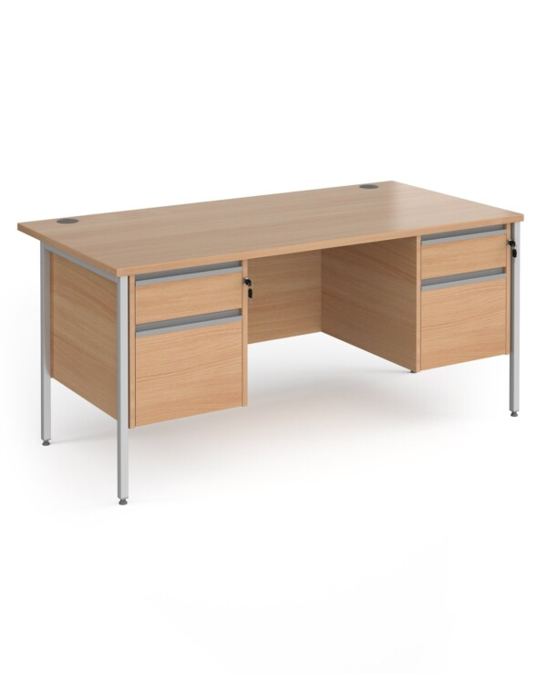 Contract 25 straight desk with 2 and 2 drawer pedestals and graphite H-Frame leg 1600mm x 800mm - beech top - Furniture